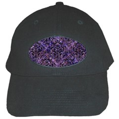 Damask1 Black Marble & Purple Marble (r) Black Cap