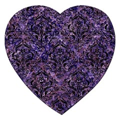 Damask1 Black Marble & Purple Marble (r) Jigsaw Puzzle (heart) by trendistuff