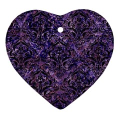 Damask1 Black Marble & Purple Marble (r) Heart Ornament (two Sides) by trendistuff