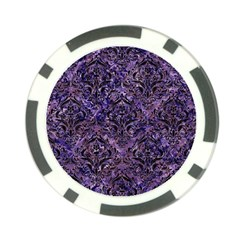 Damask1 Black Marble & Purple Marble (r) Poker Chip Card Guard