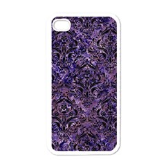 Damask1 Black Marble & Purple Marble (r) Apple Iphone 4 Case (white) by trendistuff