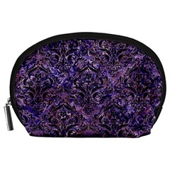 Damask1 Black Marble & Purple Marble (r) Accessory Pouch (large)