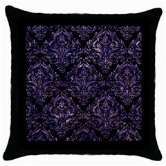Damask1 Black Marble & Purple Marble Throw Pillow Case (black) by trendistuff