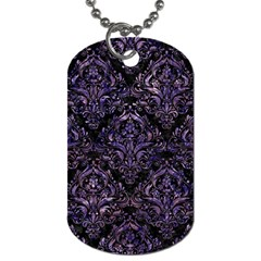Damask1 Black Marble & Purple Marble Dog Tag (one Side) by trendistuff
