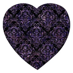 Damask1 Black Marble & Purple Marble Jigsaw Puzzle (heart) by trendistuff