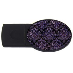 Damask1 Black Marble & Purple Marble Usb Flash Drive Oval (4 Gb)