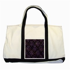 Damask1 Black Marble & Purple Marble Two Tone Tote Bag by trendistuff