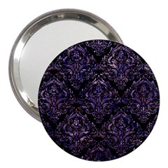 Damask1 Black Marble & Purple Marble 3  Handbag Mirror by trendistuff