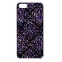 Damask1 Black Marble & Purple Marble Apple Seamless Iphone 5 Case (clear) by trendistuff