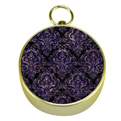 Damask1 Black Marble & Purple Marble Gold Compass by trendistuff