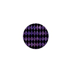 Diamond1 Black Marble & Purple Marble 1  Mini Button by trendistuff