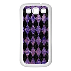 Diamond1 Black Marble & Purple Marble Samsung Galaxy S3 Back Case (white) by trendistuff
