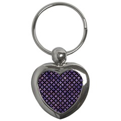 Circles3 Black Marble & Purple Marble (r) Key Chain (heart) by trendistuff