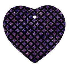 Circles3 Black Marble & Purple Marble (r) Heart Ornament (two Sides) by trendistuff