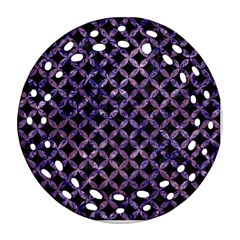 Circles3 Black Marble & Purple Marble Round Filigree Ornament (two Sides) by trendistuff