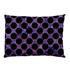 Circles2 Black Marble & Purple Marble (r) Pillow Case