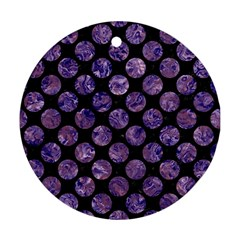 Circles2 Black Marble & Purple Marble Ornament (round)