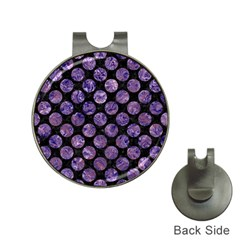 Circles2 Black Marble & Purple Marble Golf Ball Marker Hat Clip