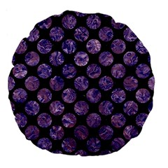 Circles2 Black Marble & Purple Marble Large 18  Premium Flano Round Cushion  by trendistuff
