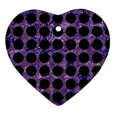 Circles1 Black Marble & Purple Marble (r) Ornament (heart) by trendistuff
