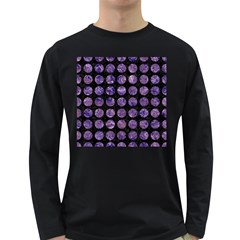 Circles1 Black Marble & Purple Marble Long Sleeve Dark T Shirt