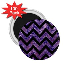 Chevron9 Black Marble & Purple Marble (r) 2 25  Magnet (100 Pack)