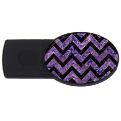 Chevron9 Black Marble & Purple Marble (r) Usb Flash Drive Oval (4 Gb) by trendistuff