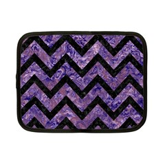 Chevron9 Black Marble & Purple Marble (r) Netbook Case (small) by trendistuff