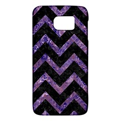 Chevron9 Black Marble & Purple Marble Samsung Galaxy S6 Hardshell Case  by trendistuff