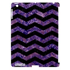 Chevron3 Black Marble & Purple Marble Apple Ipad 3/4 Hardshell Case (compatible With Smart Cover) by trendistuff