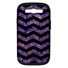 Chevron3 Black Marble & Purple Marble Samsung Galaxy S Iii Hardshell Case (pc+silicone) by trendistuff