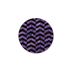 Chevron2 Black Marble & Purple Marble Golf Ball Marker (10 Pack) by trendistuff