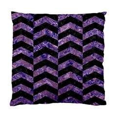Chevron2 Black Marble & Purple Marble Standard Cushion Case (two Sides) by trendistuff