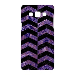 Chevron2 Black Marble & Purple Marble Samsung Galaxy A5 Hardshell Case  by trendistuff
