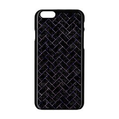 Brick2 Black Marble & Purple Marble Apple Iphone 6/6s Black Enamel Case by trendistuff