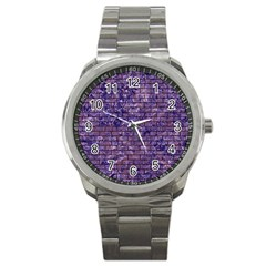 Brick1 Black Marble & Purple Marble (r) Sport Metal Watch by trendistuff