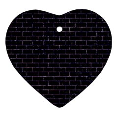 Brick1 Black Marble & Purple Marble Ornament (heart) by trendistuff