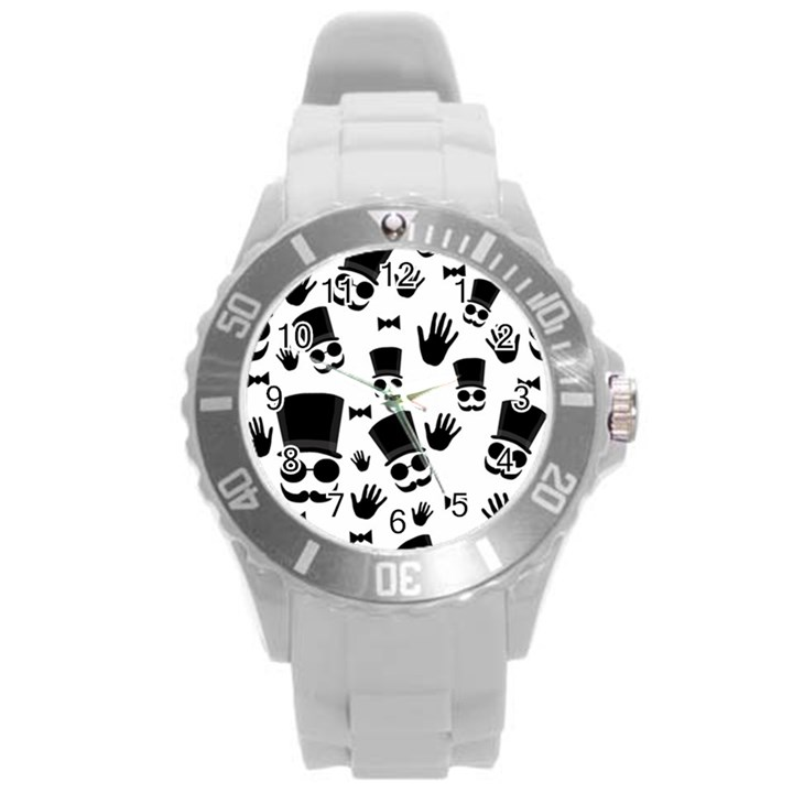 Gentleman pattern Round Plastic Sport Watch (L)