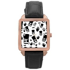 Gentleman Pattern Rose Gold Leather Watch  by Valentinaart