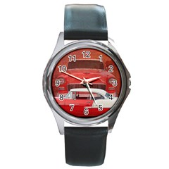 Classic Car Chevy Bel Air Dodge Red White Vintage Photography Round Metal Watch