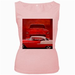 Classic Car Chevy Bel Air Dodge Red White Vintage Photography Women s Pink Tank Top