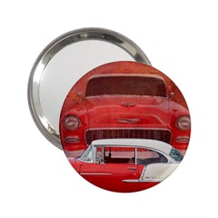 Classic Car Chevy Bel Air Dodge Red White Vintage Photography 2 25  Handbag Mirrors