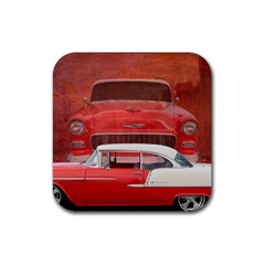 Classic Car Chevy Bel Air Dodge Red White Vintage Photography Rubber Square Coaster (4 Pack)
