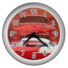 Classic Car Chevy Bel Air Dodge Red White Vintage Photography Wall Clocks (silver)  by yoursparklingshop