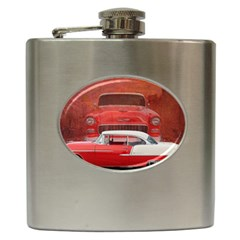 Classic Car Chevy Bel Air Dodge Red White Vintage Photography Hip Flask (6 Oz) by yoursparklingshop