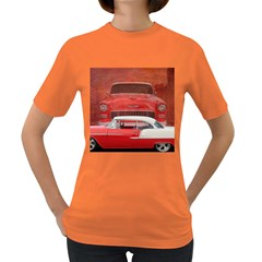 Classic Car Chevy Bel Air Dodge Red White Vintage Photography Women s Dark T Shirt