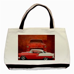 Classic Car Chevy Bel Air Dodge Red White Vintage Photography Basic Tote Bag