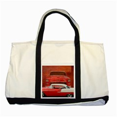 Classic Car Chevy Bel Air Dodge Red White Vintage Photography Two Tone Tote Bag by yoursparklingshop