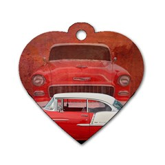 Classic Car Chevy Bel Air Dodge Red White Vintage Photography Dog Tag Heart (two Sides) by yoursparklingshop