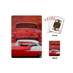 Classic Car Chevy Bel Air Dodge Red White Vintage Photography Playing Cards (mini)